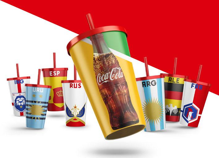 ed59315bcc Brasil, Argentina, Alemanha, Espanha, França, Inglaterra, Uruguai e Rússia  são os países escolhidos para estampar os oito copos da Coca-Cola para a  Copa do ...