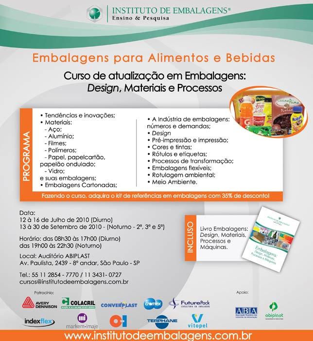 Instituto de Embalagens faz nova parceria com o Guia da Embalagem cedendo descontos especiais para curso de Embalagens para Alimentos e Bebidas