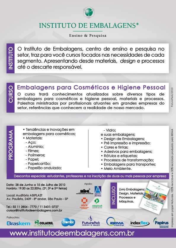 Curso de Embalagens para Cosméticos e Higiene Pessoal em promoção especial em parceria com o Guia da Embalagem