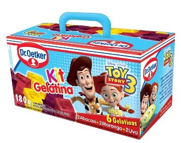 Embalagens do Kit Gelatinas Dr. Oetker vira maletinha para crianças