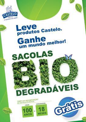 Sacolas biodegradáveis na loja da Castelo Alimentos