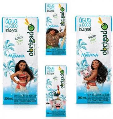 Água de coco Obrigado lança embalagens do filme Moana