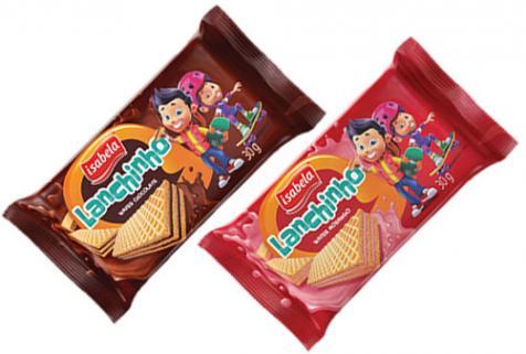Isabela apresenta o biscoito Wafer Lanchinho em embalagens on the go