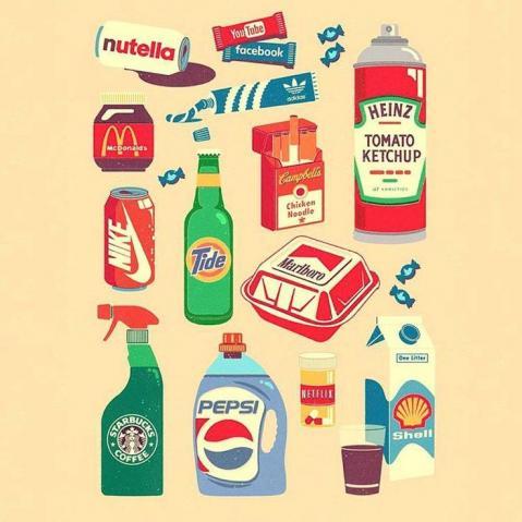 Designer gráfico mistura embalagens e marcas famosas