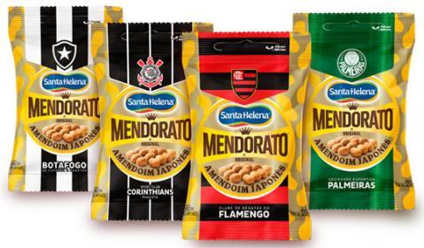 Embalagem de Mendorato chega ao mercado com brasões de times