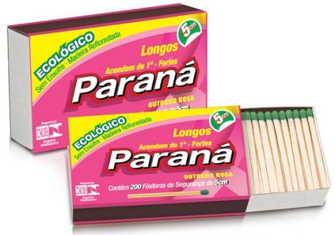 """Fósforos Paraná terá embalagem especial para o """"Outubro Rosa"""""""