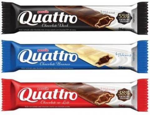 Peccin coloca no mercado as novas embalagens do chocolate Quattro